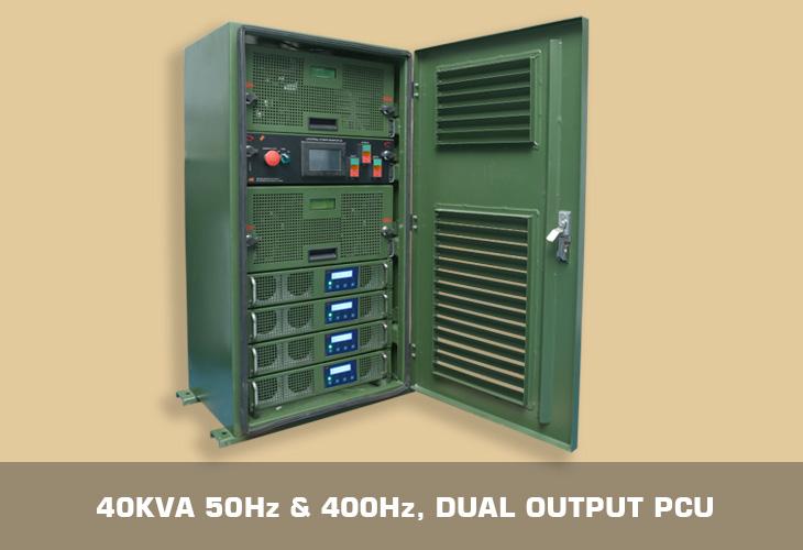 40kVA 50Hz & 400Hz, Dual output pcu